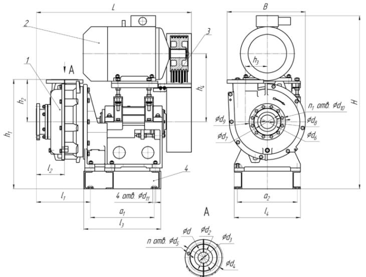 Габаритные размеры грунтовых насосных агрегатов типа ГрАТ(ГрАК)(соединение через клиноременную передачу)
