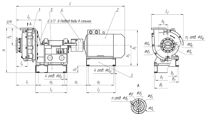 Габаритные размеры грунтовых насосных агрегатов типа ГрАТ(ГрАК)(через упругую муфту)