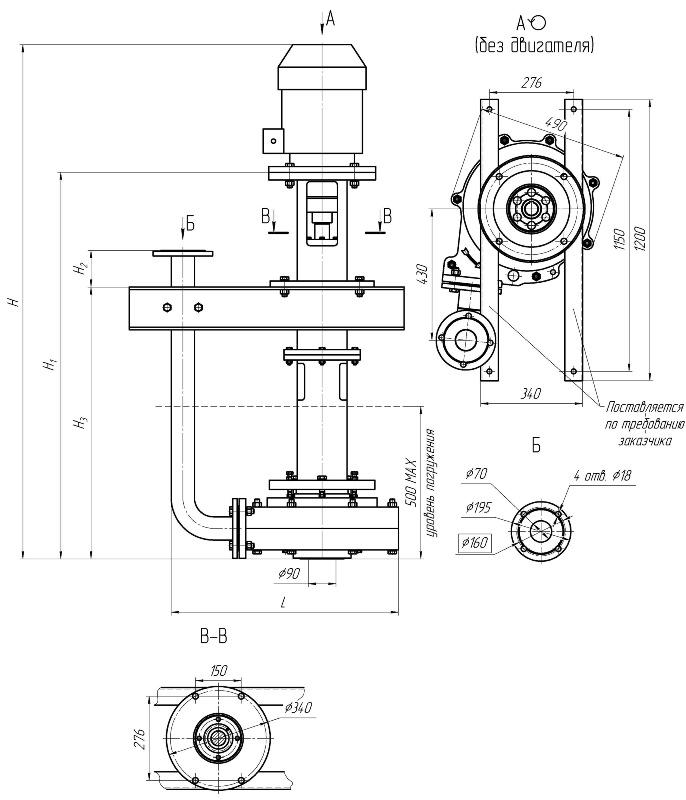 Габаритные и присоединительные размеры насосных агрегатов на основе песковых насосов типа 1ПРВП63/22,5, 1ПКВП63/22,5