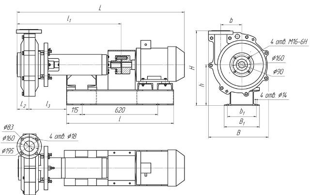 Габаритные и присоединительные размеры насосных агрегатов на основе песковых насосов типа 1ПР 63/22,5-СП